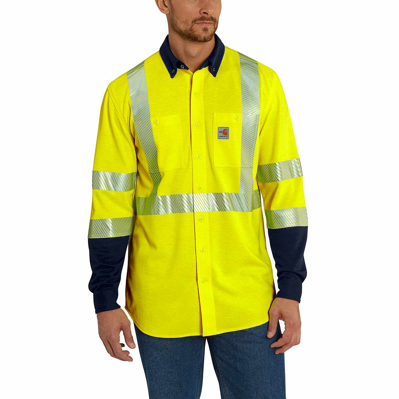 Picture of Flame-Resistant High-Vis Force Hybrid Shirt in Brite Lime