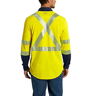 Carhartt Men's Brite Lime Flame-Resistant High-Vis Force Hybrid Shirt - back