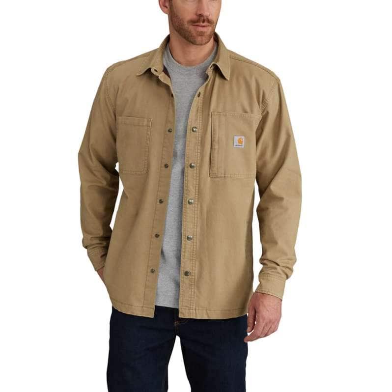 Carhartt  Dark Khaki Rugged Flex® Relaxed Fit Canvas Fleece-Lined Snap-Front Shirt Jac