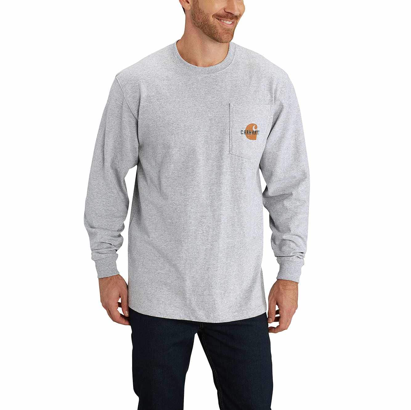 Picture of Workwear Graphic Opening Season Long-Sleeve T-Shirt in Heather Gray
