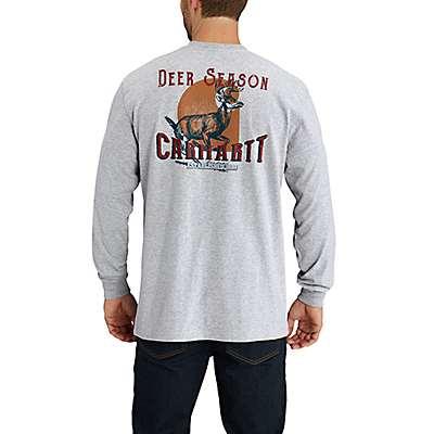 Carhartt Men's Heather Gray Workwear Graphic Opening Season Long-Sleeve T-Shirt - back