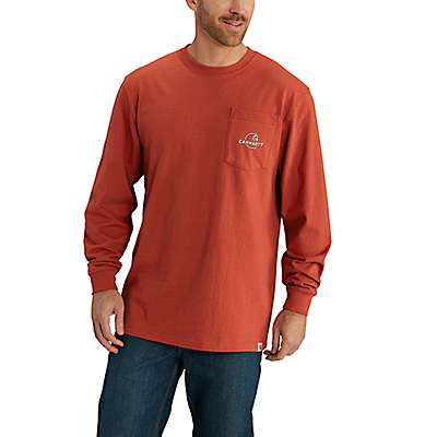 Carhartt Men's Chili Workwear Graphic Carhartt Patch Long-Sleeve T-Shirt - front