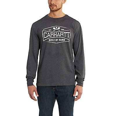 Carhartt Men's Carbon Heather Maddock Graphic Handmade Long-Sleeve T-Shirt - front