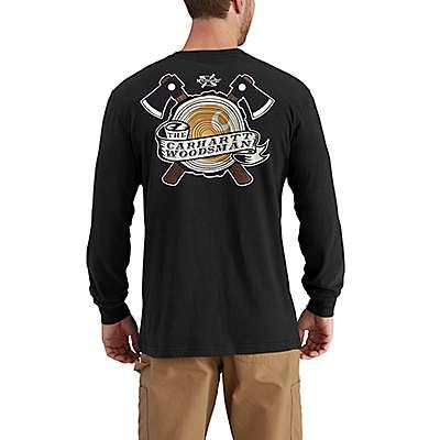 Carhartt Men's Black Maddock Graphic Woodsman Long-Sleeve T-Shirt - back
