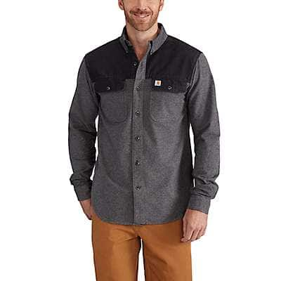 Carhartt Men's Charcoal Heather Burleson Heather Button Down Shirt - front