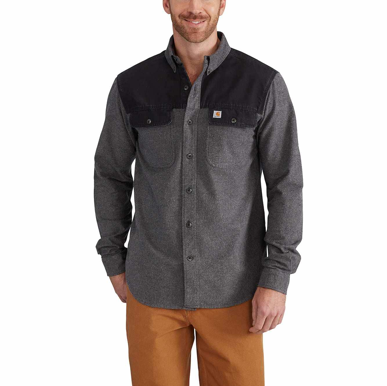 Picture of Burleson Heather Button Down Shirt in Charcoal Heather