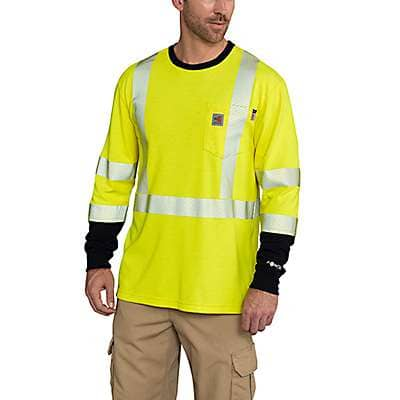Carhartt Men's Brite Lime Flame-Resistant High-Vis Force Long-Sleeve T-Shirt Class 3 - front