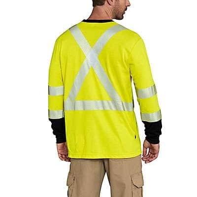 Carhartt Men's Brite Lime Flame-Resistant High-Vis Force Long-Sleeve T-Shirt Class 3 - back