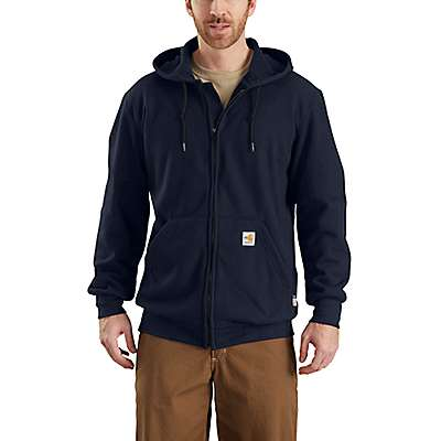 Carhartt Men's Dark Navy Flame-Resistant Rain Defender® Hooded Heavyweight Zip-Front Sweatshirt - front