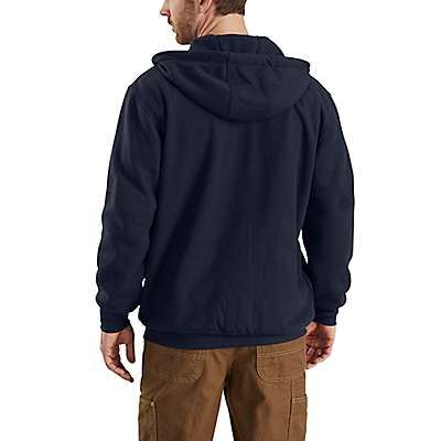 Carhartt Men's Dark Navy Flame-Resistant Rain Defender® Hooded Heavyweight Zip-Front Sweatshirt - back