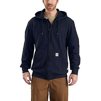 Carhartt Men's Dark Navy Flame-Resistant Heavyweight Hooded Zip-Front Sweatshirt