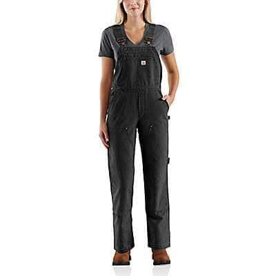 Carhartt  Dark Brown Weathered Duck Unlined Wildwood Bib Overall - front