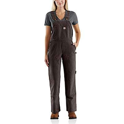 Carhartt Women's Dark Brown Weathered Duck Unlined Wildwood Bib Overall - front