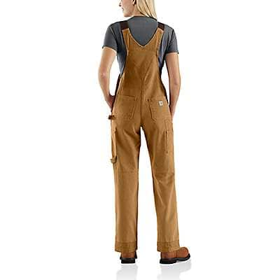 Carhartt Women's Dark Brown Weathered Duck Unlined Wildwood Bib Overall - back