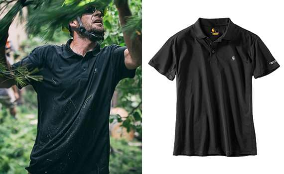 1. relaxed fit. 2. fastdry with 37.5 technology dries faster to keep your body at its ideal temperature. 3. fights odors by trapping and releasing them in the wash. 4. rugged flex technology for ease of movement. 5. no-roll, rib-knit- polo collar. 6. three-button front. 7. tagless neck label and smooth flatlock seams for comfort.