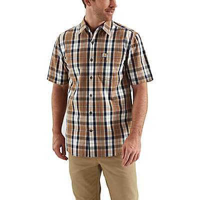 Carhartt  Carhartt Brown Essential Plaid Open Collar Button Down Short-Sleeve Shirt - front