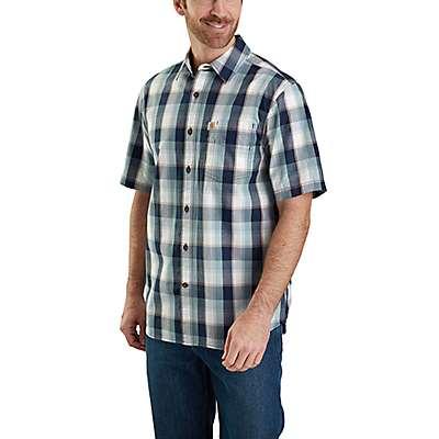 Carhartt  Navy Essential Plaid Open Collar Button Down Short-Sleeve Shirt - front