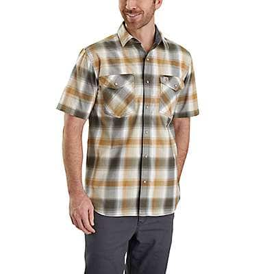 Carhartt  Olive Rugged Flex® Bozeman Plaid Snap-Front Short-Sleeve Shirt - front