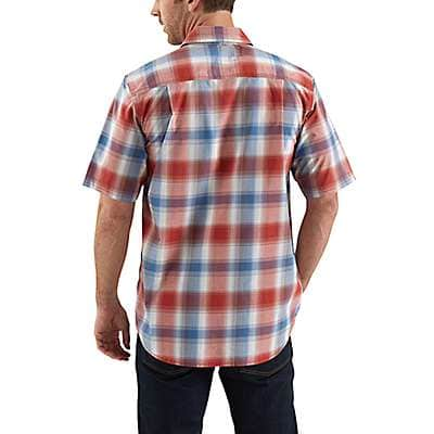 Carhartt  Olive Rugged Flex® Bozeman Plaid Snap-Front Short-Sleeve Shirt - back