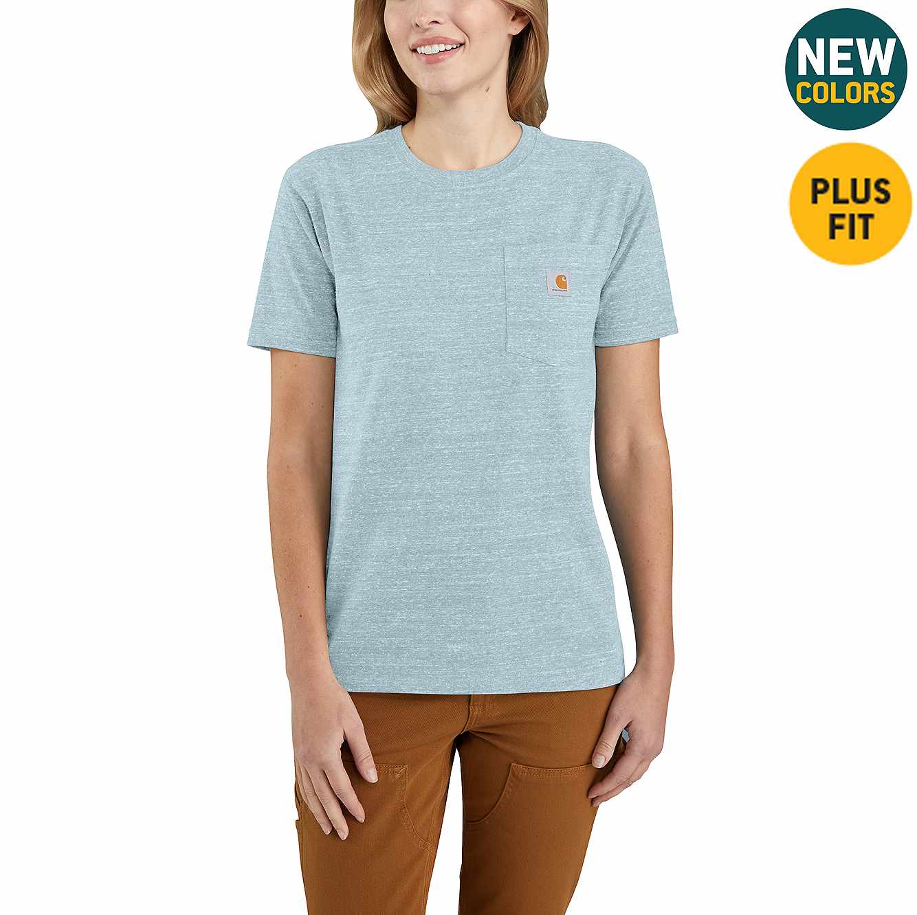 Picture of Women's Loose Fit Heavyweight Short-Sleeve Pocket T-Shirt in Tourmaline Snow Heather