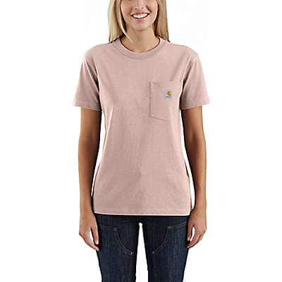 Carhartt Women's Rose Smoke WK87 Workwear Pocket T-Shirt - front