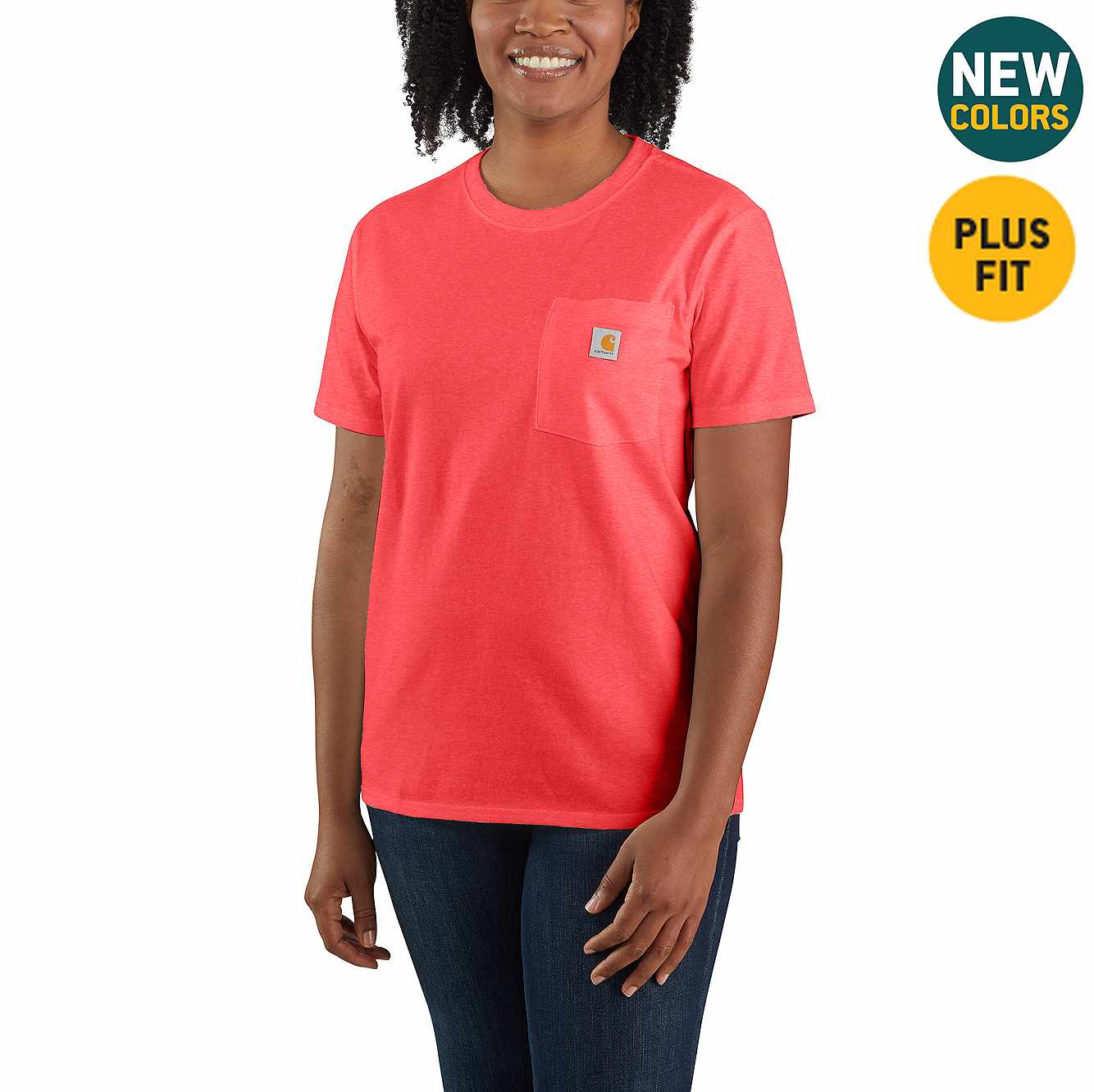 Picture of Women's Loose Fit Heavyweight Short-Sleeve Pocket T-Shirt in Ruby Heather