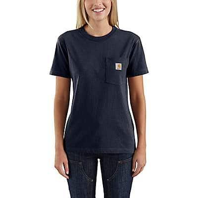 Carhartt Women's Navy Women's Loose Fit Heavyweight Short-Sleeve Pocket T-Shirt