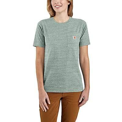 Carhartt Women's Leaf Green Snow Heather Women's Loose Fit Heavyweight Short-Sleeve Pocket T-Shirt