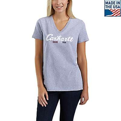 Carhartt Women's Heather Gray Lubbock Script Graphic T-Shirt - front