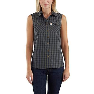 Carhartt Women's Moss Carhartt Force® Ridgefield Sleeveless Plaid Shirt - front