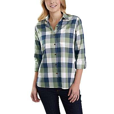 Carhartt Women's Oil Green Fairview Plaid Shirt - front