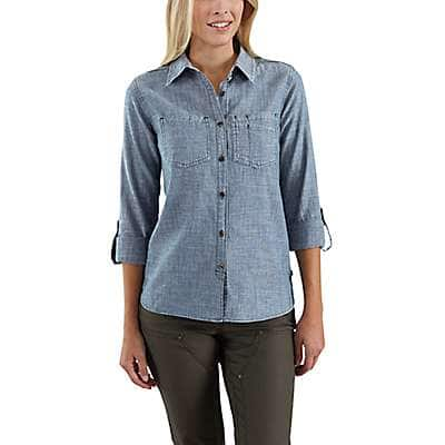 Carhartt Women's Light Indigo Fairview Solid Shirt - front
