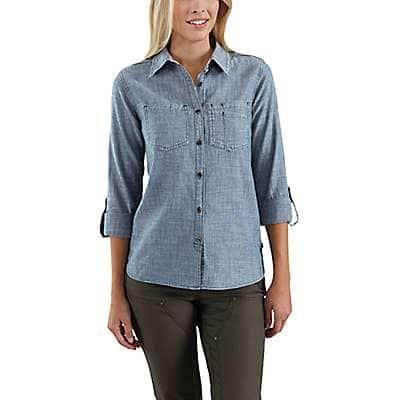 Carhartt Women's Light Indigo Fairview Solid Shirt - front