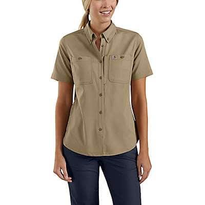 Carhartt Women's Dark Khaki Rugged Professional™ Series Relaxed Fit Canvas Short Sleeve Work Shirt