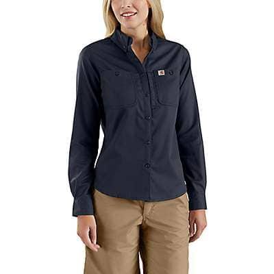 Carhartt Women's Navy Rugged Professional™ Series Women's Long-Sleeve Shirt - front