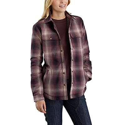 Carhartt Women's Deep Wine Hubbard Sherpa-Lined Shirt Jac - back