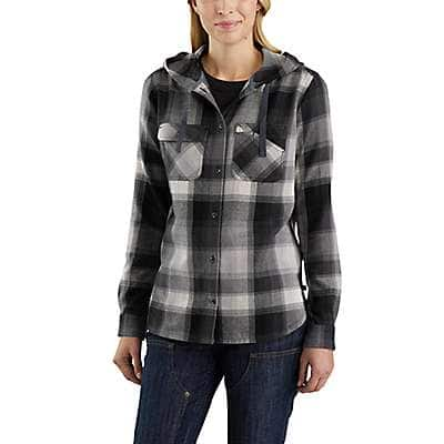 Carhartt Women's Asphalt Beartooth Hooded Flannel Shirt - front
