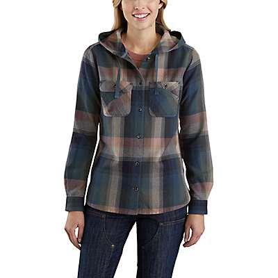 Carhartt Women's Asphalt Beartooth Hooded Flannel Shirt - front