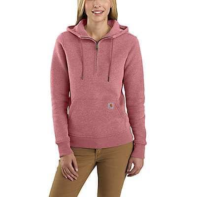 Carhartt Women's Brick Dust Heather Clarksburg Half-Zip Sweatshirt - front