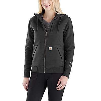 Carhartt Women's Fudge Heather Rain Defender® Rockland Quilt-Lined Full-Zip Hooded Sweatshirt - front