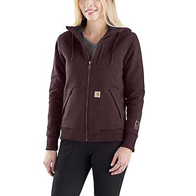 Carhartt  Fudge Heather Rain Defender® Rockland Quilt-Lined Full-Zip Hooded Sweatshirt - front