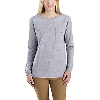 Carhartt Women's Black WK126 Workwear Pocket Long-Sleeve T-Shirt - front