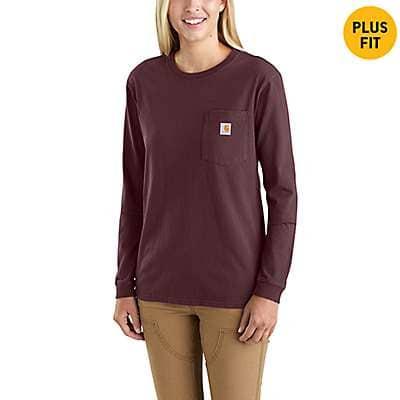 Carhartt Women's Navy WK126 Workwear Pocket Long-Sleeve T-Shirt - front