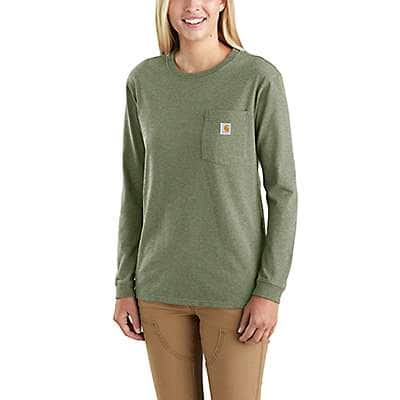 Carhartt Women's Olivine Heather WK126 Workwear Pocket Long-Sleeve T-Shirt - front