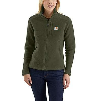 Carhartt Women's Olive Yorklyn Mock Neck Full-Zip Sweatshirt - front