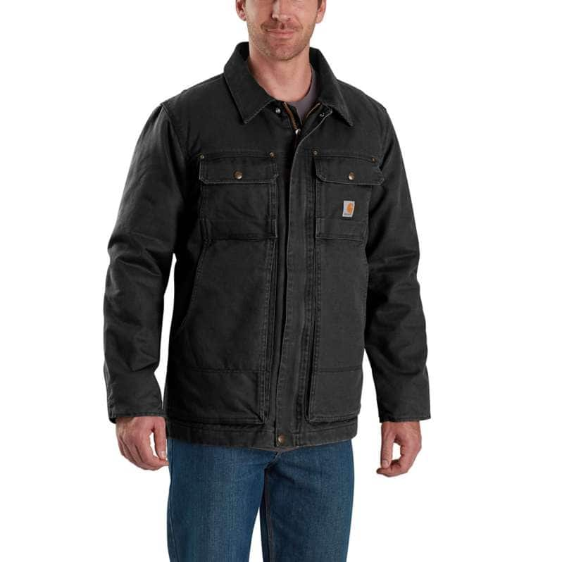 Carhartt  Black Full Swing® Relaxed Fit Washed Duck Insulated Traditional Coat