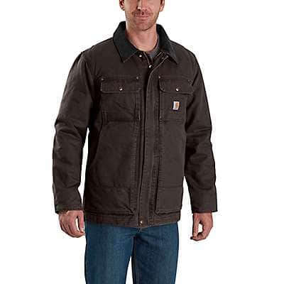 Carhartt Men's Dark Brown Full Swing® Relaxed Fit Washed Duck Insulated Traditional Coat