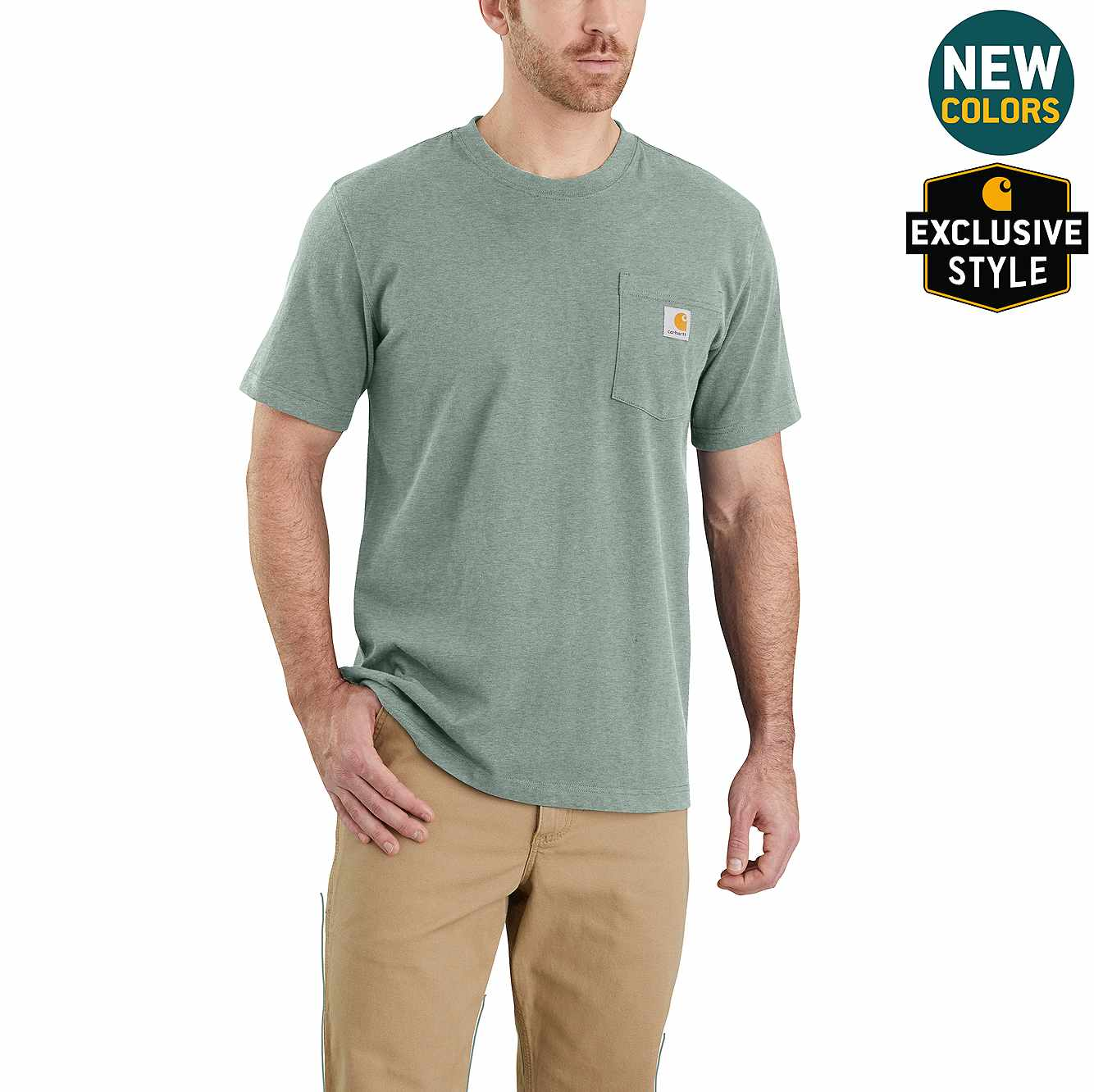 Picture of Relaxed Fit Heavyweight Short-Sleeve Pocket T-Shirt in Leaf Green Snow Heather