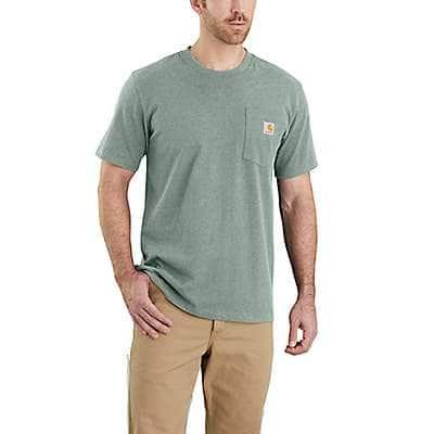 Carhartt Men's Leaf Green Snow Heather Relaxed Fit Heavyweight Short-Sleeve Pocket T-Shirt