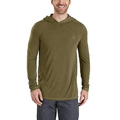 Carhartt Men's Burnt Olive Heather Force Extremes® Pullover Hoodie - front